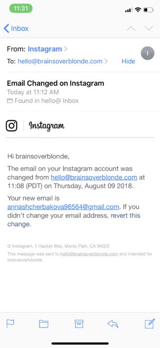 brainsoverblonde instagram hacked
